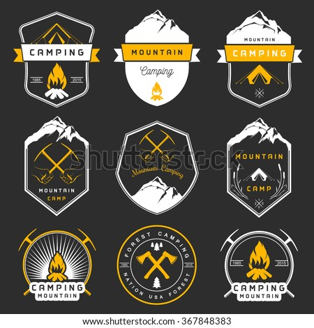 Set of vector logos and badges camping, hiking and outdoor activities. Collection of emblems and symbols of woods camp, travel and mountain camping - stock vector
