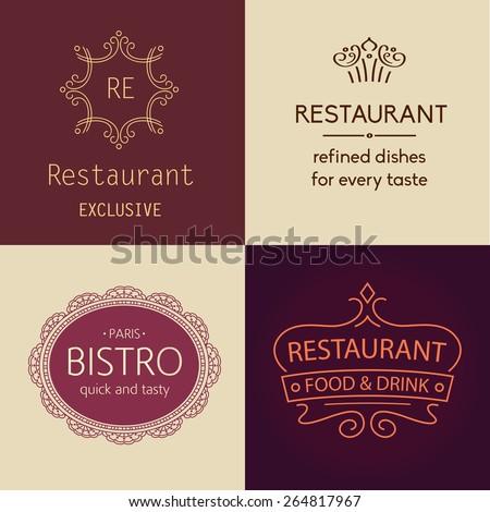Set of vector logos for restaurants, bars, cafes, bistros. Prestige and elegance, the premium segment. - stock vector