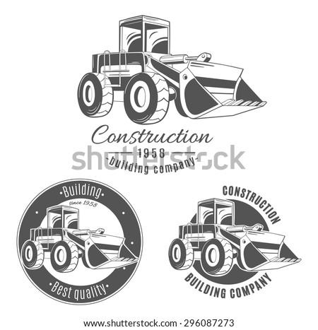 Set of vector logos with bulldozer. - stock vector