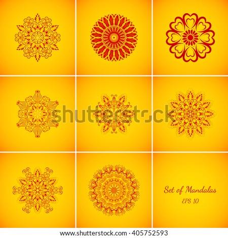 Set of Vector Magic Red Glow Mandalas - stock vector