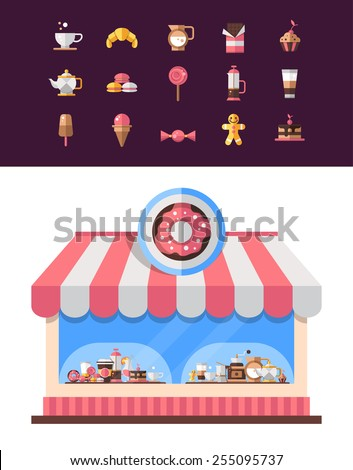 Set of vector modern flat design coffee-shop, cafe and bakery icons - stock vector