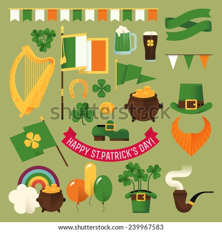 Set of vector modern flat design decoration items on Happy Saint Patrick's Day featuring Ireland flag, harp, clover leaves, leprechaun hat, red beard, pot of gold, rainbow, balloons and more - stock vector