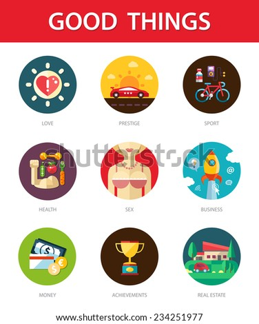 Set of vector modern flat design men's good things icons for your design - stock vector