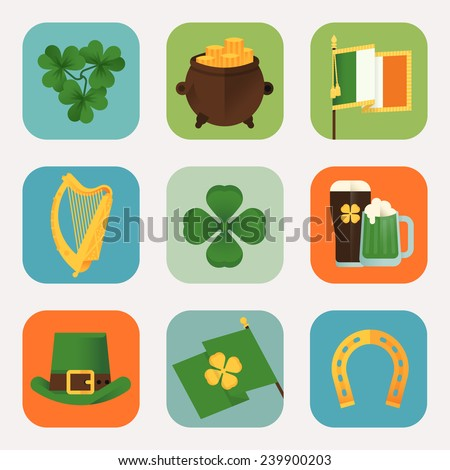 Set of vector modern flat design round corners icons on Happy Saint Patrick's Day featuring Ireland flag, harp, clover leaves, horseshoe, leprechaun hat, pot of gold, pint of beer - stock vector