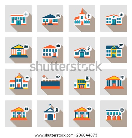 Set of vector municipal houses in flat style isolated university school library museum capitol embassy hospital post office church kindergarten prison police court cemetery theater fire station - stock vector