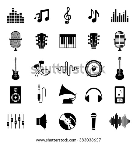 Set of vector music icons. Music icons for audio store, recording studio label, podcast and radio station, branding and identity. - stock vector