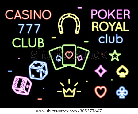 Set of vector neon light logos of poker club and casino. Gambling and card, game and play illustration - stock vector