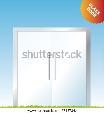 Set of vector outdoor advertising [Glass Doors] - stock vector