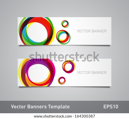 Set of vector paper banners / flyers template with colorful circular shapes background. Can be used for websites or business design - stock vector