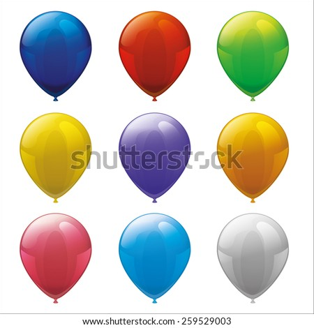 Set of Vector Party colorful balloons isolated on white  - stock vector