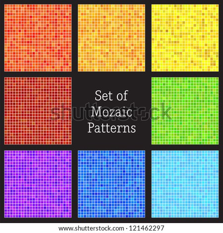Set of vector patterns of colorful mosaic. Vector illustration - stock vector