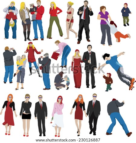 Set of vector people illustrations - stock vector