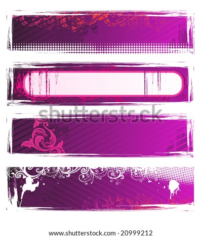 Set of vector pink grunge floral banners - stock vector