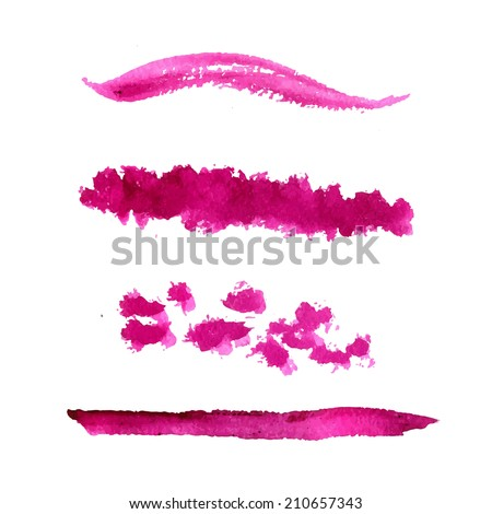Set of vector pink paint stains and textured strokes. Collection of cosmetic swatches. - stock vector