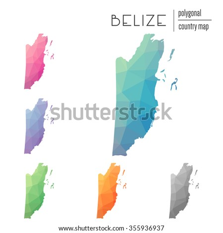 Set of vector polygonal Belize maps. Bright gradient map of country in low poly style. Multicolored country map in geometric style for your infographics - stock vector