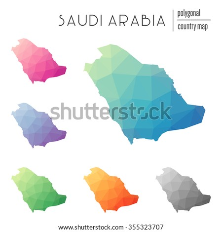 Set of vector polygonal Saudi Arabia maps. Bright gradient map of country in low poly style. Multicolored country map in geometric style for your infographics - stock vector