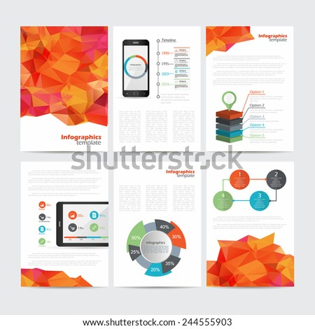 Set of vector poster templates with polygonal background. Abstract background for business documents, flyers, posters and placards with infographics. - stock vector