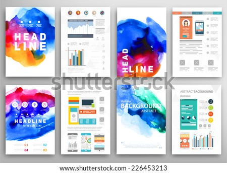 Set of Vector Poster Templates with Watercolor Paint Splash. Abstract Background for Business Documents, Flyers, Posters and Placards. - stock vector