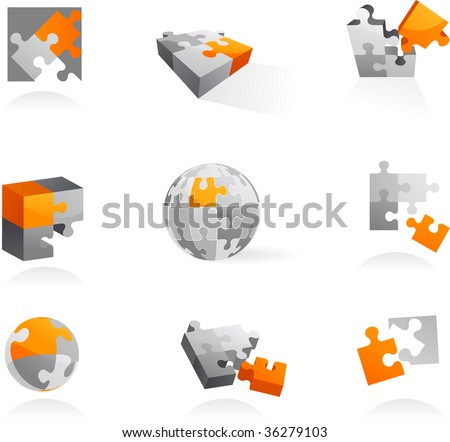 Set of vector puzzle icons and elements - 1 - stock vector