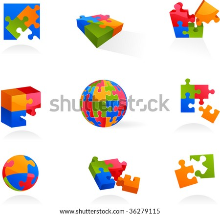 Set of vector puzzle icons and elements - 2. - stock vector
