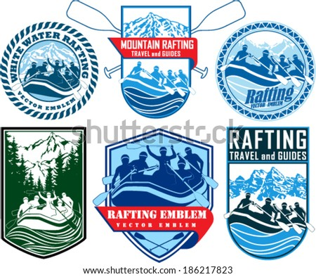 set of vector rafting emblems labels - stock vector