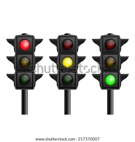 Set of vector realistic traffic lights isolated on white background - stock vector