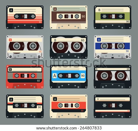 Set of vector retro audio cassettes. Tape and audio, music and sound, media and record - stock vector