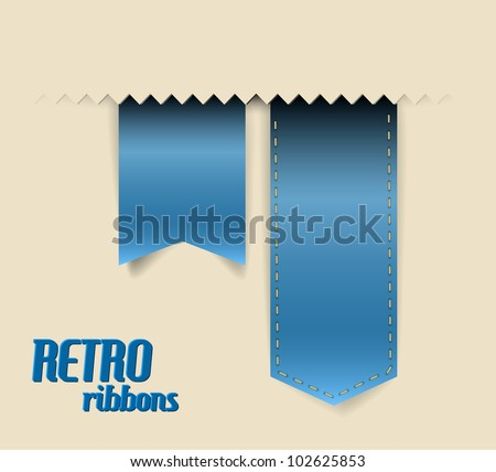 Set of vector retro ribbons, labels, stickers, tabs and tags - stock vector
