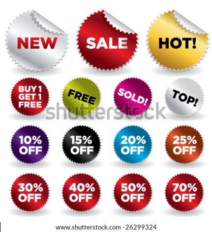 set of vector round stickers for retail and other use VOL. 4 - stock vector