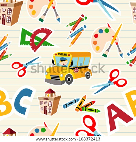 Set of vector School tools and Supplies seamless pattern. Vector file layered for easy manipulation and custom coloring. - stock vector