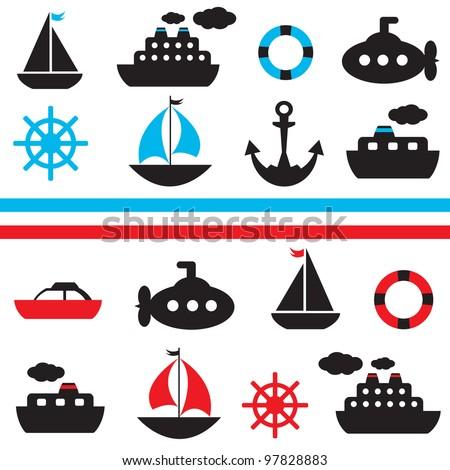 set of vector sea transport - stock vector