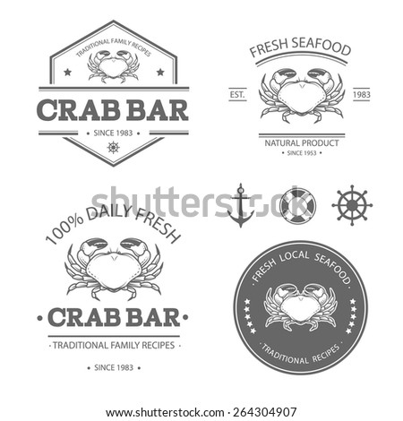 Set of vector seafood labels, badges and design elements - stock vector
