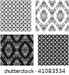 Set of vector seamless damask patterns and patterns with fleur-de-lis - stock vector