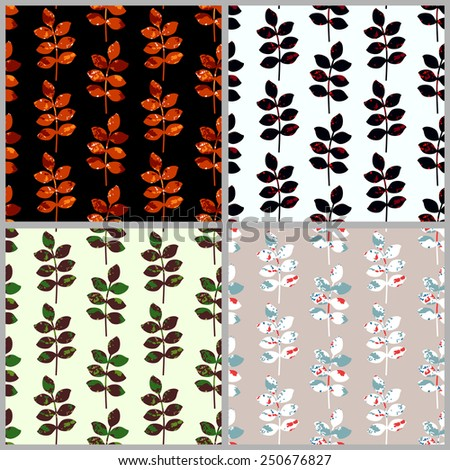 Set of vector seamless floral pattern. Repetitive simple grunge background of twig with leaves. Abstract dark backdrop for web page design. EPS10 vector background. - stock vector