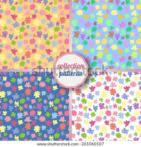 Set of Vector seamless pattern with the image of multi-colored smudges, stains, paint. Can be used for design pattern fabric, wallpaper, wrapping paper.  - stock vector