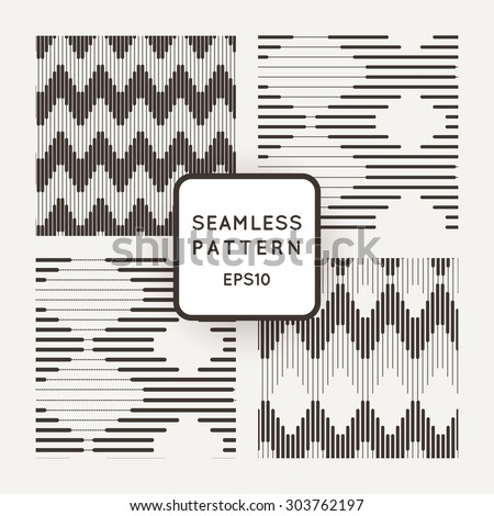 Set of vector seamless pattern with zigzags of parallel lines of varying thickness - stock vector
