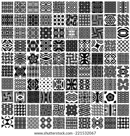 Set of 100 vector seamless patterns (black and white tiling). Collection of monochrome geometric ornaments. Endless texture can be used for pattern fills, web page background,surface textures. - stock vector