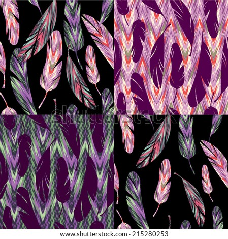 Set of vector seamless patterns. Bright abstract feathers. Carnival, celebration, fun  - stock vector