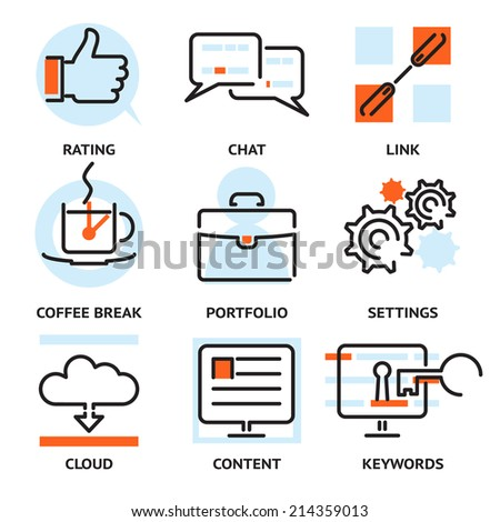 Set of vector SEO contour icons depicting rating  char  link  coffee break  portfolio  settings  cloud  content and keywords for optimising your website search ranking - stock vector