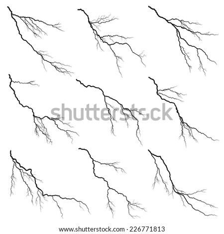 Set of vector silhouettes illustration of thunderstorm lightning isolated on white background. - stock vector
