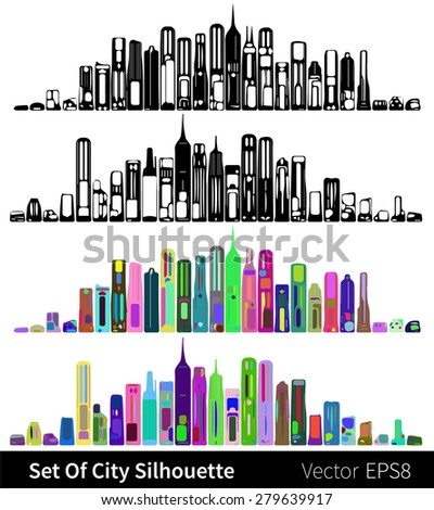 Set of vector silhouettes of New York - stock vector
