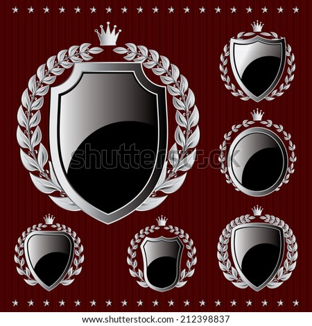 set of vector silver emblem with shield and wreaths - stock vector