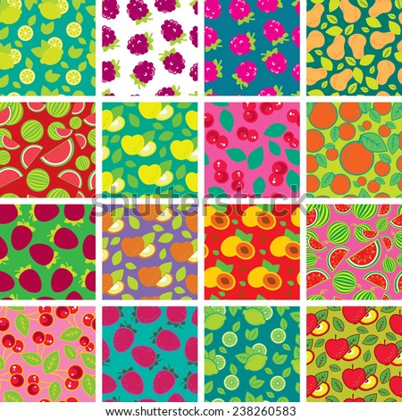 Set of vector simple colorful seamless patterns - different fruits - stock vector