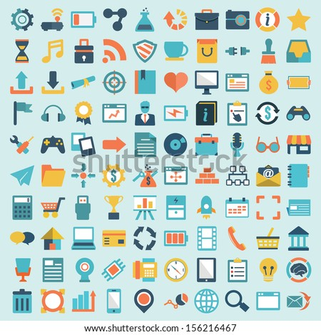 Set of 100 vector social media icons. Flat design - part 1 - vector icons - stock vector