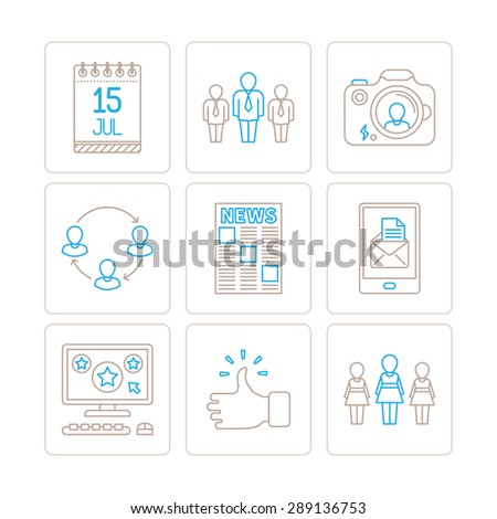 Set of vector social networking icons and concepts in mono thin line style - stock vector