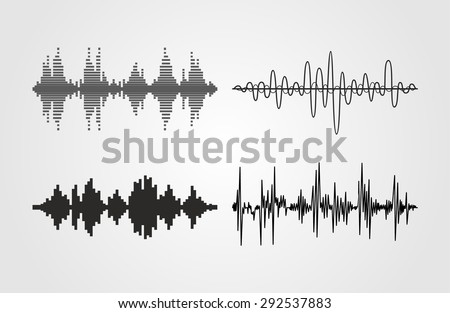 Set of vector sound waves. Audio equalizer technology, pulse musical. Can be used in club, radio, pub, party, concerts, recitals or the audio technology advertising background. - stock vector