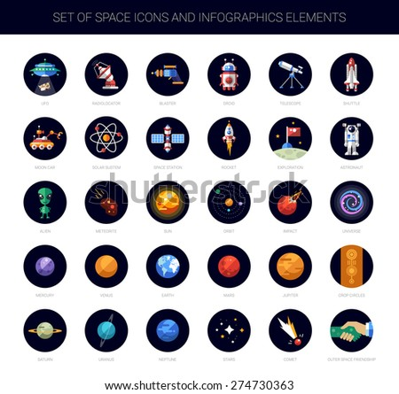 Set of vector space icons and infographics elements - stock vector