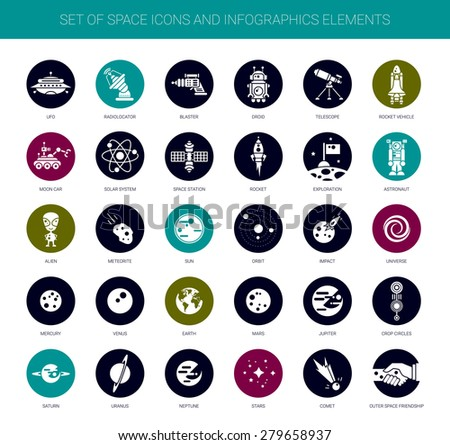 Set of vector space icons, pictograms and infographics elements - stock vector