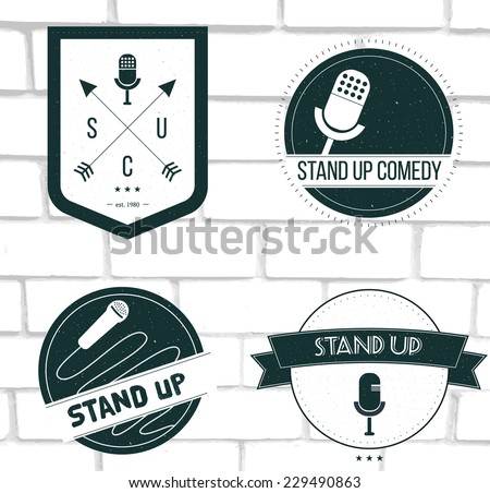 Set of vector stand up comedy logos and badges at white brick background. Modern and retro microphones. Hipster style labels and banners for print and web design. - stock vector