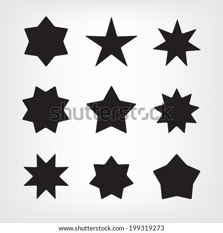 set of vector star icons isolated - stock vector